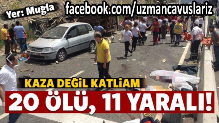 Muğla'da Tur Otobüsü Devrildi ! Çok Sayıda Ölü ve Yaralı Var !