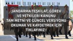 Güncel Jandarma Teşkilat, Görev ve Yetkileri Kanunu